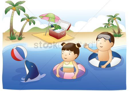 Play kids : Kids having fun in the sea with dolphin