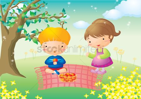 Eat : Kids having picnic in park
