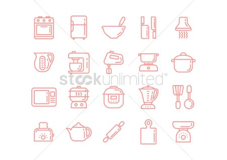Stove : Kitchen appliance icons set
