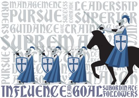 Typographics : Knights marching forward with their commander