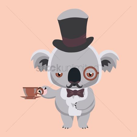 Servings : Koala bear holding coffee cup