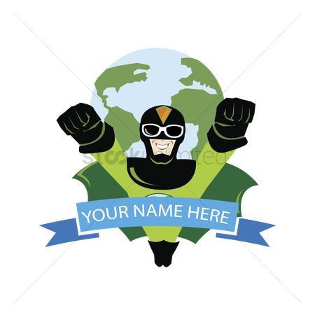 Heroes : Label with superhero and earth