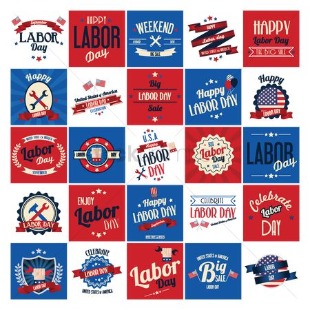Spanner : Labor day poster and labels set