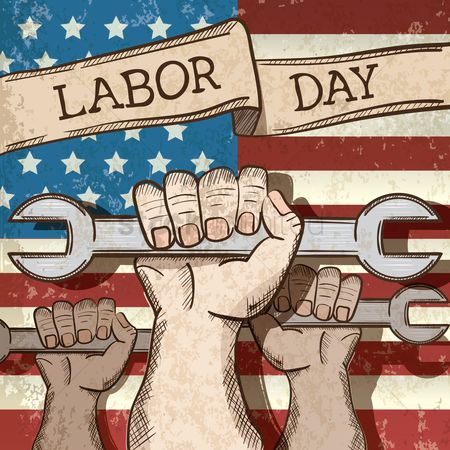 Poster : Labor day poster with hand holding spanner