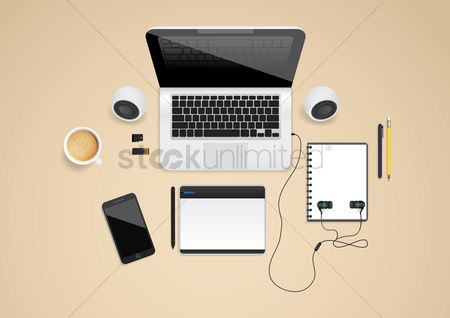 Coffee cups : Laptop and accessories flatlay