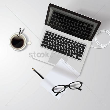 Coffee cups : Laptop workspace