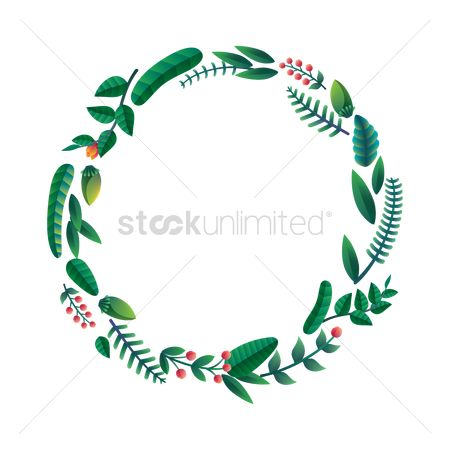 Thankful : Leaves wreath design