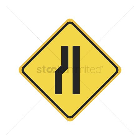Narrow road ahead sign : Left narrow road sign
