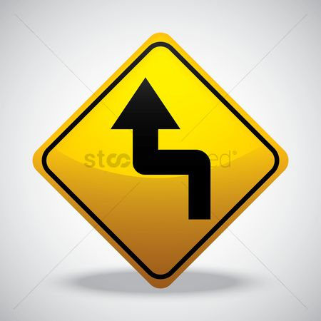 Attention : Left reverse turn road sign