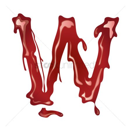 Drippings : Letter w with dripping blood
