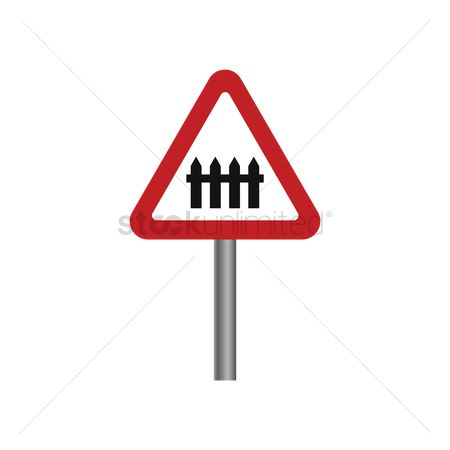 Barrier : Level crossing with barrier sign