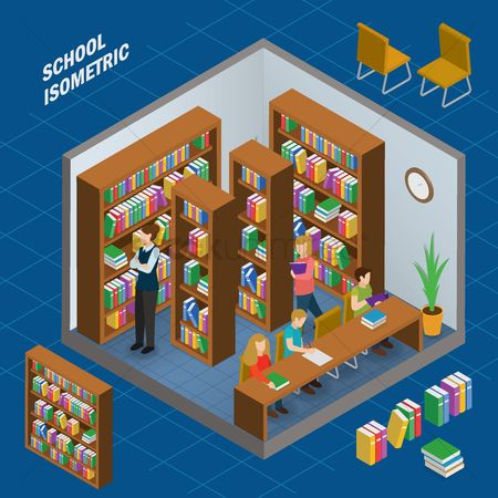 Knowledge : Library school isometric