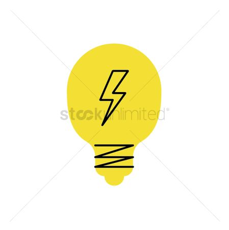 Charging icon : Light bulb with voltage sign