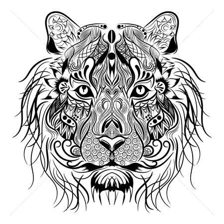 Head : Lion monochrome design