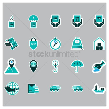 Hand truck : Logistic and delivery icons