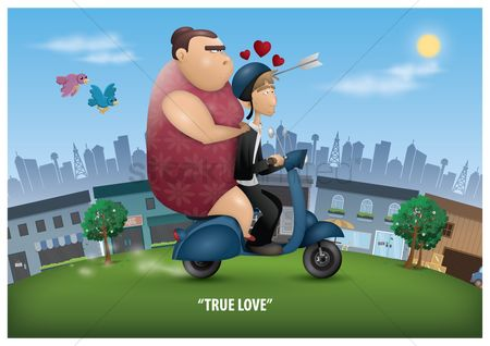 Lady : Love struck man riding a scooter with his true love