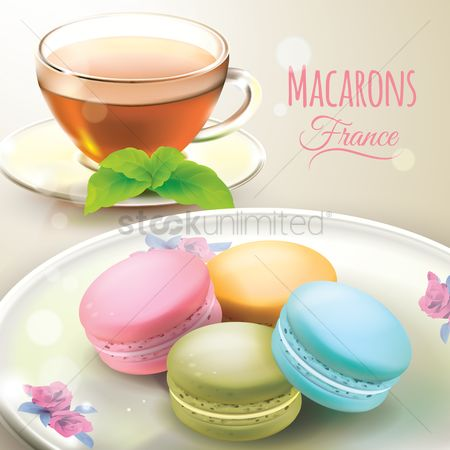 Confections : Macarons with cup of tea
