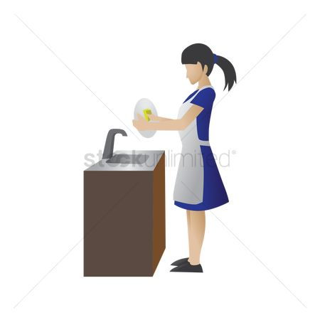 Dishes : Maid washing dishes