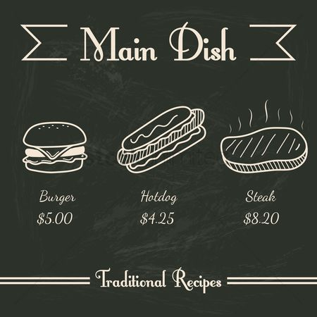 Hotdogs : Main dish menu
