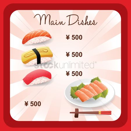 Japanese cuisines : Main dishes menu design