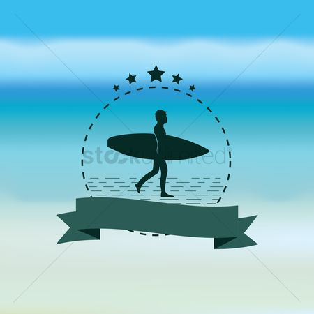 Coast : Man and surfboard with banner