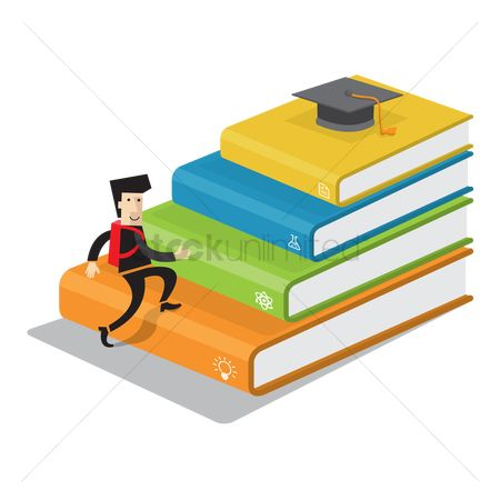 Stack : Man climbing a stack of books