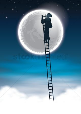 Moon : Man climbing to the moon