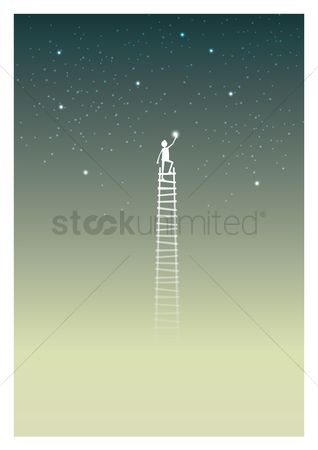 Success : Man on ladder catching star