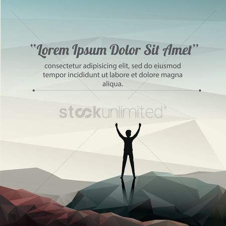 Success : Man on top of the mountain