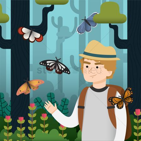 Hats : Man playing with butterflies in the woods