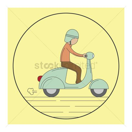 Scooters : Man riding a scooter