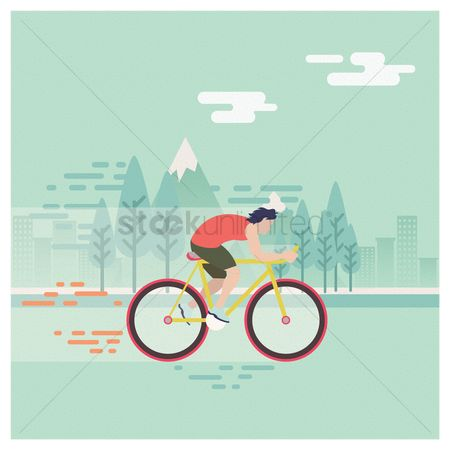 Athletes : Man riding bicycle