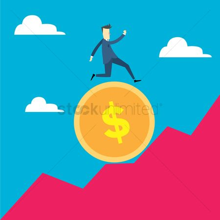 Profits : Man running on a coin up the hill