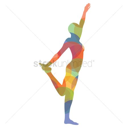 Standing : Man silhouette practising yoga in standing pose