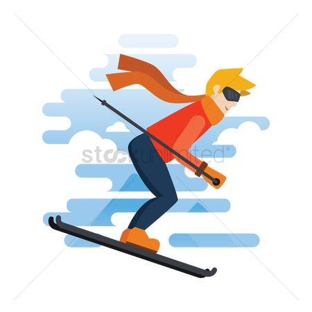 Recreation : Man skiing
