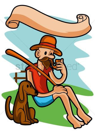 Smoking pipe : Man smoking pipe with a dog