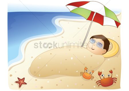 Crabs : Man undergoing sand therapy on beach