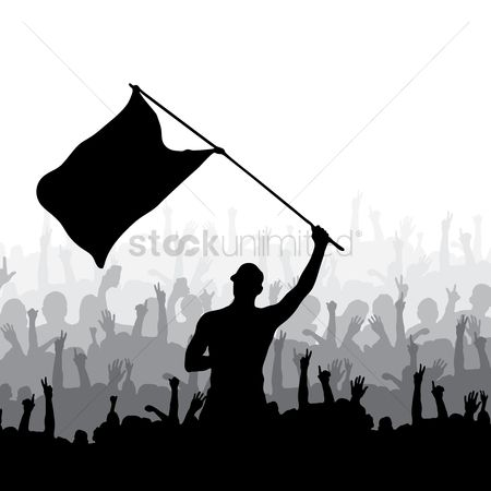 Cheering : Man waving flag and crowd cheering