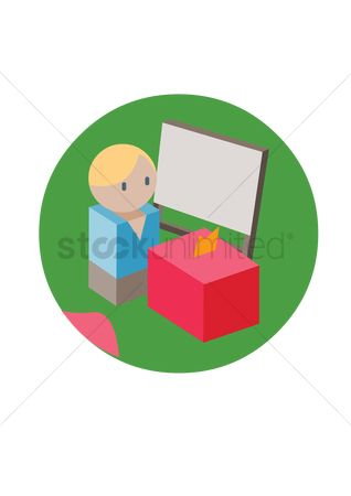 Dolls : Man with ballot box and board
