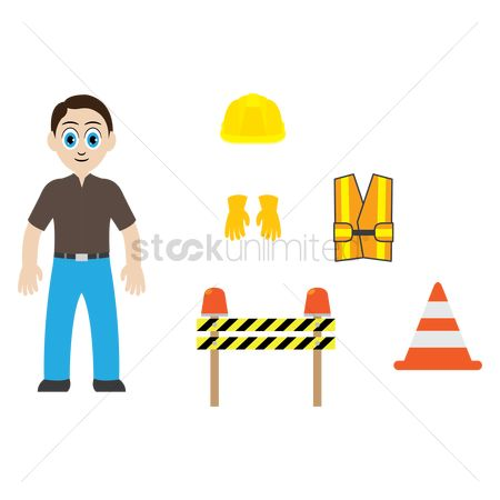 Barrier : Man with construction equipment