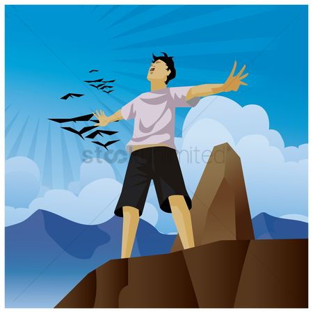 Arm : Man with open arms standing on cliff