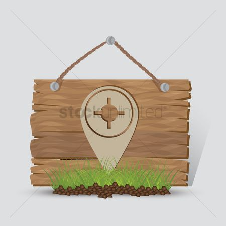 Wooden sign : Map indicator sign