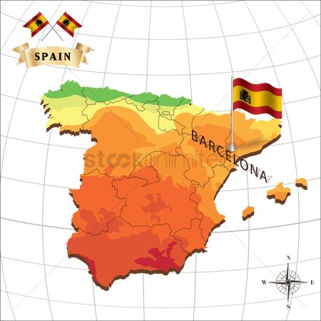 Nationality : Map of spain with barcelona