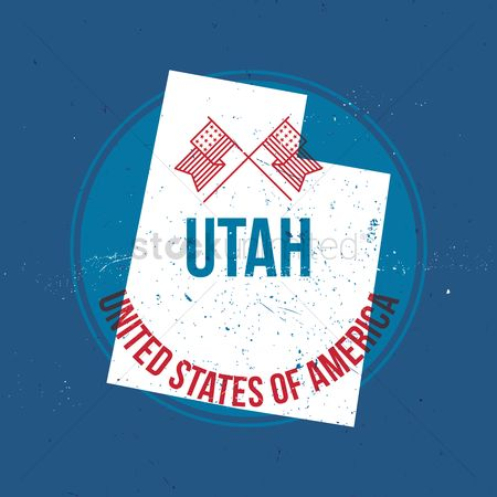 Utah map : Map of utah state label