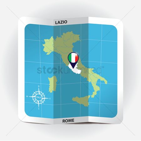 Highlights : Map pointer indicating lazio on italy map