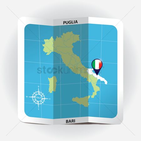 Highlights : Map pointer indicating puglia on italy map