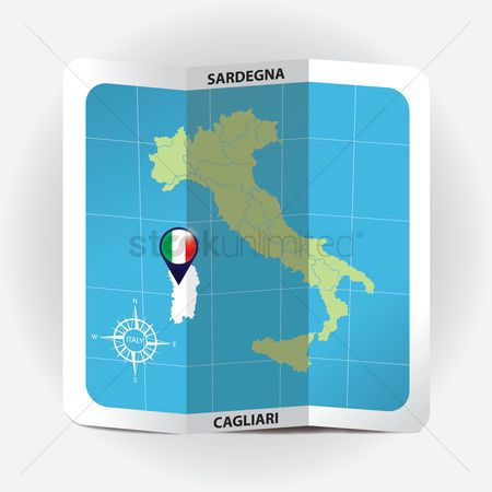 Highlights : Map pointer indicating sardegna on italy map