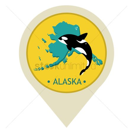 Navigators : Map pointer with alaska state