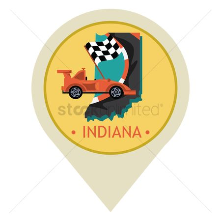 Indiana : Map pointer with indiana state
