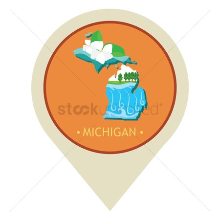 The great lake : Map pointer with michigan state